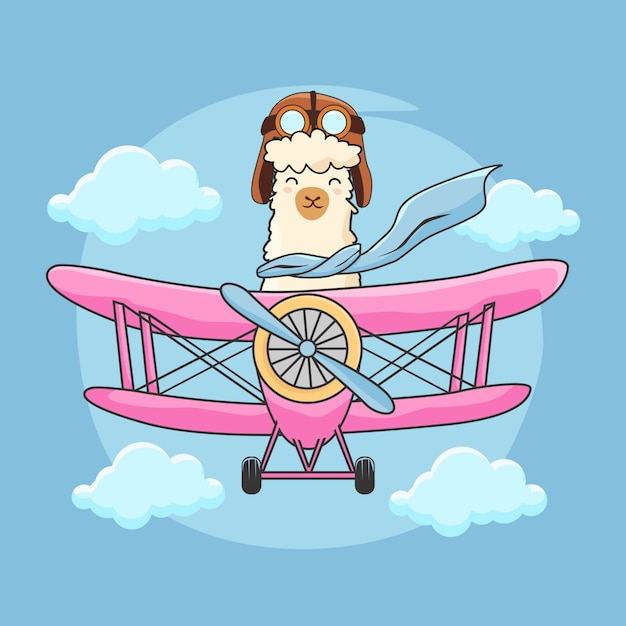 Alpaca bonito avião a voar Vetor Premium