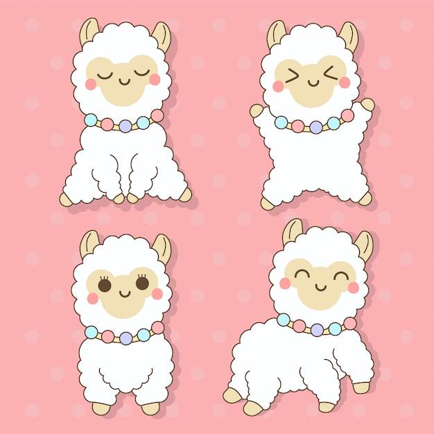 Alpaca - conjunto de ilustração de personagem de animais fofos kawaii Vetor Premium