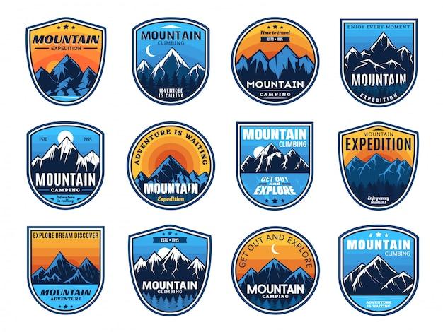 Alpinismo, ícones de viagens de acampamento, turismo Vetor Premium