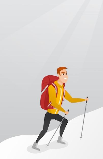 Alpinista caucasiana, escalando um cume nevado. Vetor Premium