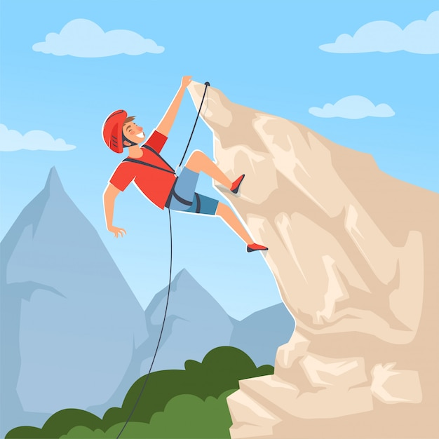 Alpinista nas colinas. Vetor Premium