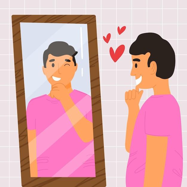 Alta autoestima com homem e espelho Vetor grátis