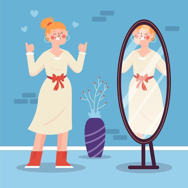 Alta autoestima com mulher e espelho Vetor grátis