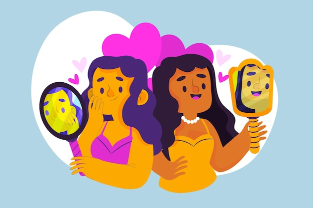 Alta autoestima com mulheres e espelho Vetor grátis