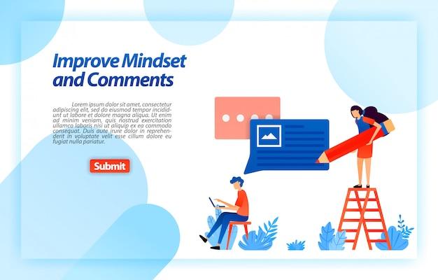 Alterar e melhorar a mentalidade do usuário e comentários no uso do serviço para obter melhores conselhos, feedback e suporte do usuário. modelo da web da página de destino Vetor Premium