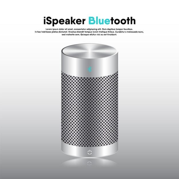 Alto-falante bluetooth portátil 3d design realista, alto-falantes de música eletrônica para ouvir entretenimento e recreação. Vetor Premium