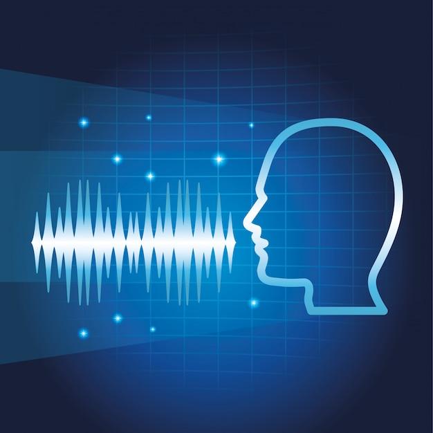 Alto-falante de reconhecimento de voz de smartphone Vetor Premium
