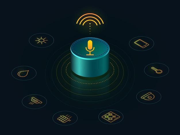 Alto-falante inteligente com controle de voz da sua casa. relatórios de dispositivos ativados por voz, respostas Vetor Premium