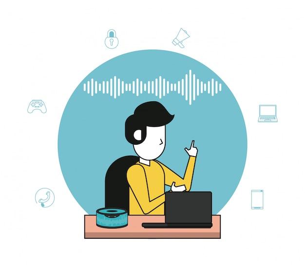 Alto-falante sem fio e computador tecnológico Vetor Premium