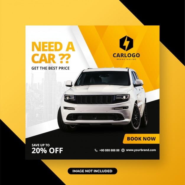 Alugar carro para mídia social post banner modelo Vetor Premium