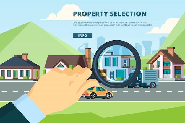 Alugar casa. pesquisando novo conceito de empresa de propriedade hipotecária para venda residencial moderna Vetor Premium