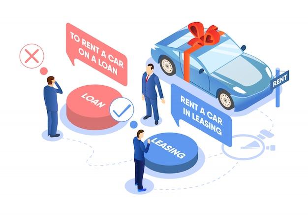 Alugar o carro na ilustração da escolha do empréstimo ou do aluguel. Vetor Premium