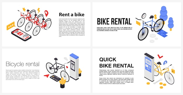 Alugar um conjunto de banner de bicicleta, estilo isométrico Vetor Premium