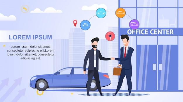 Aluguel de carros. centro de escritórios. contrato de locação. ajuda road Vetor Premium