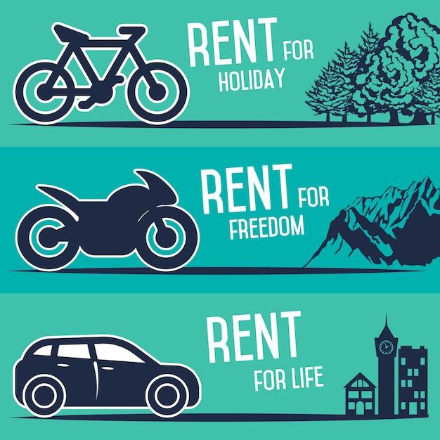 Aluguel de carros e outros banners de transporte. Vetor Premium