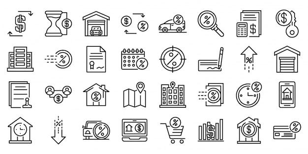 Aluguer conjunto de ícones, estilo de estrutura de tópicos Vetor Premium