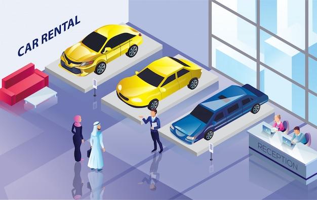 Aluguer de viaturas com veículos para contratação e vendedor. Vetor Premium