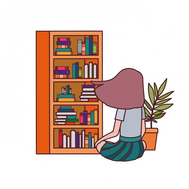 Aluna sentado de costas com pilha de livros Vetor grátis