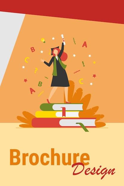Aluno comemorando a formatura. menina de vestido e boné com diploma dançando na ilustração vetorial plana de livros. pós-graduação, educação, conceito de faculdade Vetor grátis