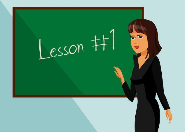 Aluno de palestrante na ilustração de lição de sala de aula. Vetor Premium