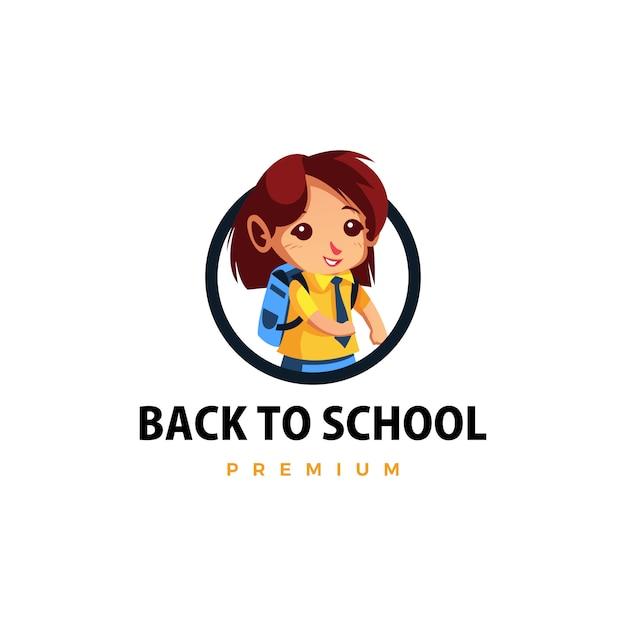 Aluno de volta às aulas ilustração do ícone do logotipo do personagem mascote Vetor Premium