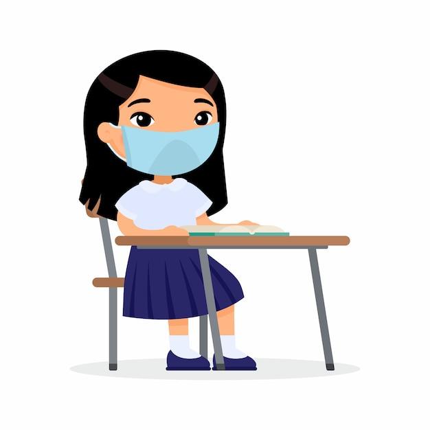 Aluno na lição com máscara protetora em seu conjunto de ilustrações vetoriais de rosto. estudante asiática está sentado em uma turma escolar em sua mesa. proteção de coronavírus, conceito de alergias. Vetor grátis