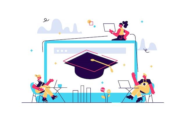 Alunos com laptops estudando e um laptop enorme com chapéu de formatura. cursos online gratuitos, cursos de certificação online, conceito de escola de negócios online. ilustração de vetor isolado de coral rosa Vetor Premium