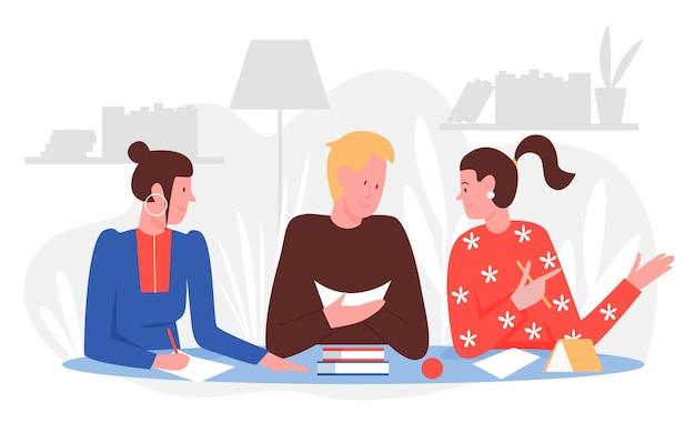 Alunos de pessoas estudam com amigos em ilustração vetorial para casa. desenho animado jovem sentado à mesa com livros ou livros didáticos Vetor Premium