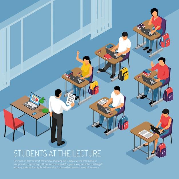 Alunos do ensino superior, anotando-se na palestra tutorial participando de ilustração em vetor composição isométrica de aulas de seminário Vetor grátis