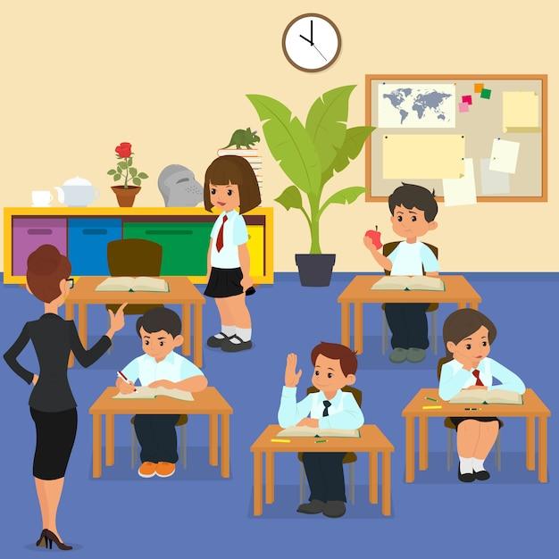 Alunos em sala de aula na lição. Vetor Premium