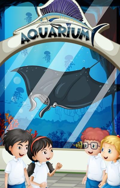 Alunos em uniforme visitando o aquário Vetor grátis