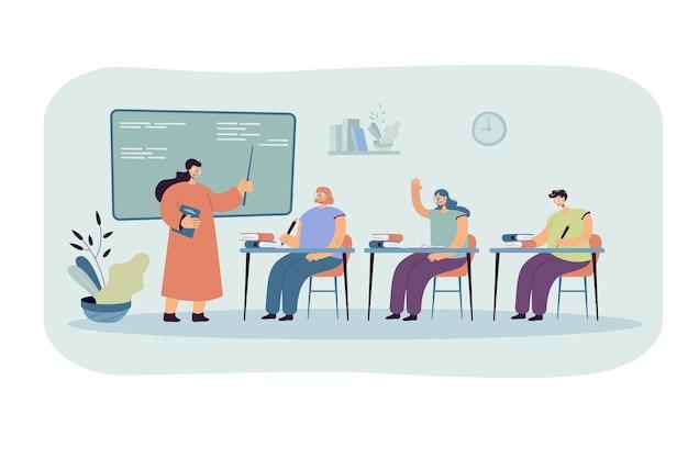 Alunos felizes aprendendo na ilustração plana da faculdade. Vetor grátis