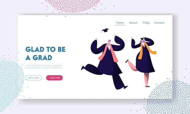 Alunos felizes comemorando a formatura, fim da educação. modelo de página de destino do site Vetor Premium