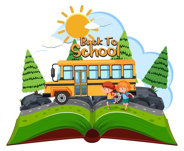 Alunos indo para a escola de ônibus Vetor Premium