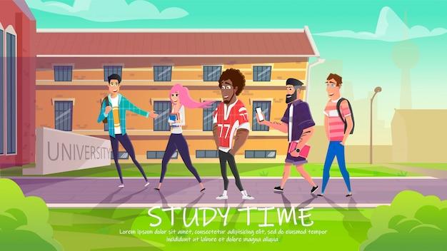 Alunos que entram no prédio da universidade para estudar. Vetor Premium