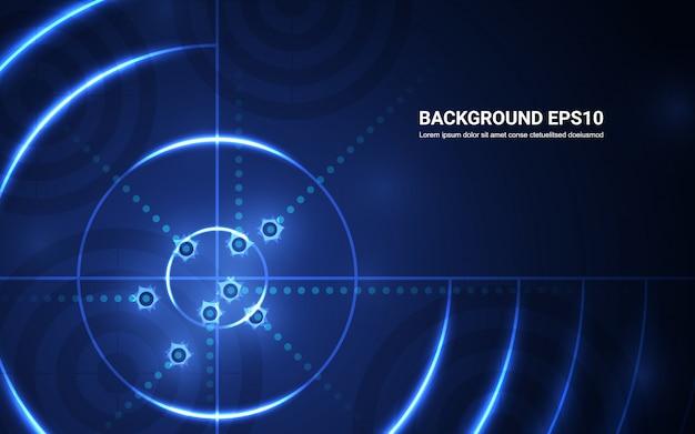 Alvo azul abstrato, escala de tiro no fundo preto. tiro, alvo, sucesso, solução Vetor Premium