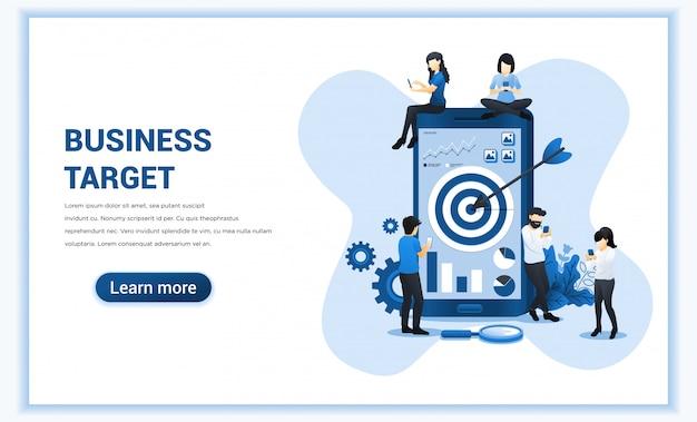 Alvo de negócios com pessoas trabalhando juntas no celular gigante para alcançar a meta. realização do objetivo, trabalho em equipe bem sucedido. ilustração plana Vetor Premium