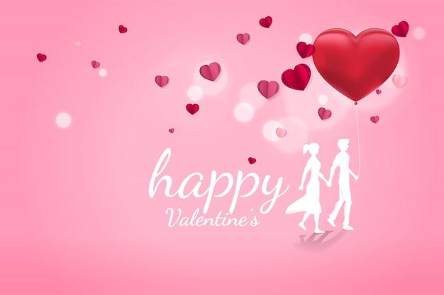 Amante casal segurando a mão caminhando com fundo de coração de balão Vetor Premium