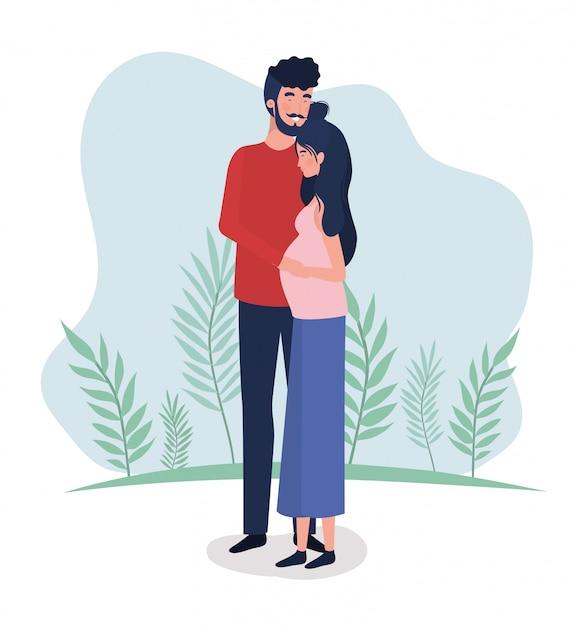 Amantes bonitos casal personagens de gravidez na paisagem Vetor grátis