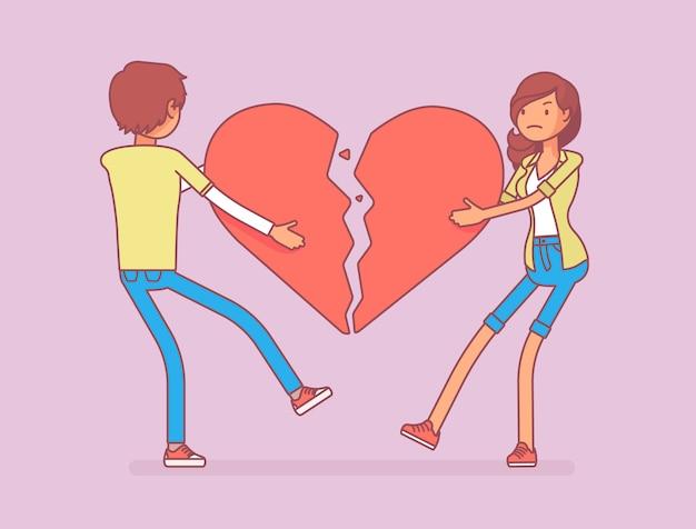 Amantes coração partido Vetor Premium