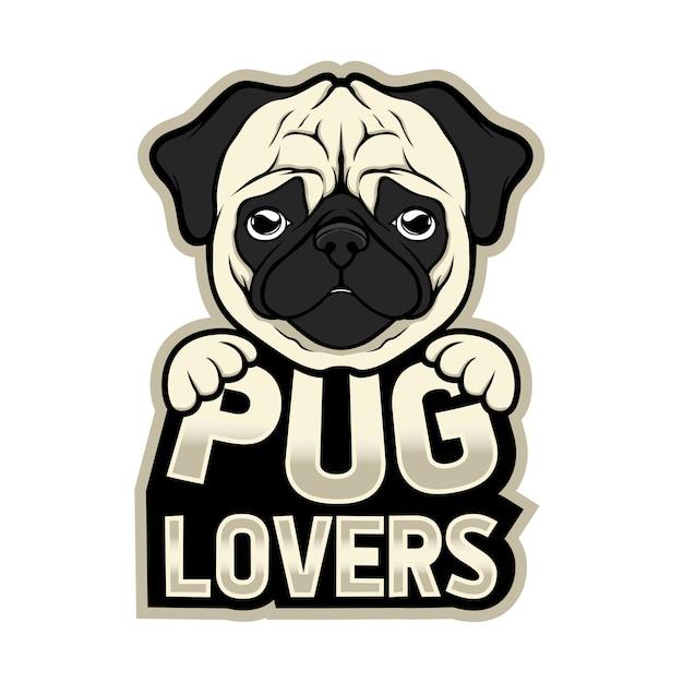 Amantes do pug do logotipo da mascote Vetor Premium