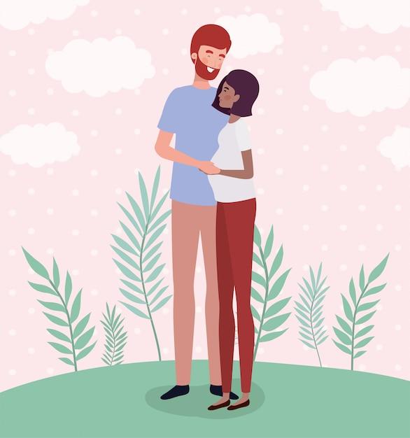 Amantes inter-raciais casal personagens de gravidez na paisagem Vetor grátis
