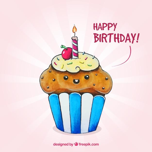 Amarelo aniversário cupcake delicioso com uma vela ...