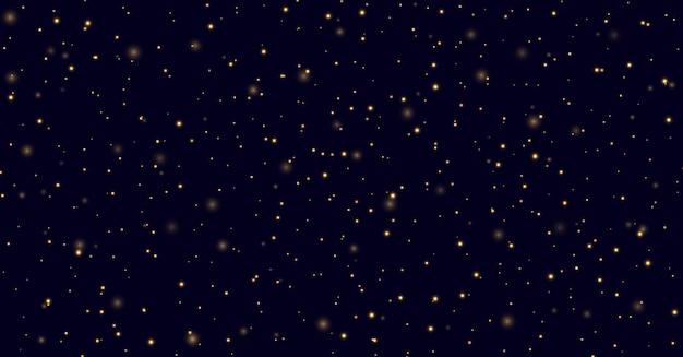 Amarelo brilha em um fundo azul escuro, vaga-lumes voando no meio da noite. efeito de luz de poeira estelar dourada. pano de fundo abstrato do céu à noite. Vetor Premium