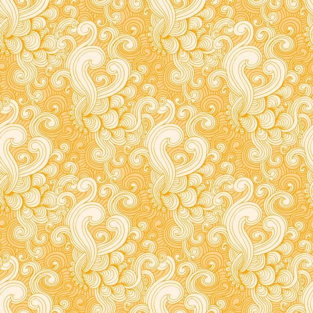 Amarelo e branco padrão de redemoinho Vetor grátis