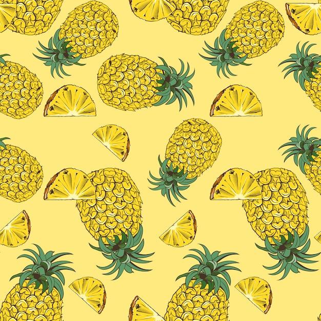 Amarelo padrão sem emenda com abacaxis em estilo vintage Vetor Premium
