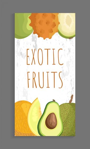 Ambarella kiwano, papaya melon, abacate brochure Vetor Premium