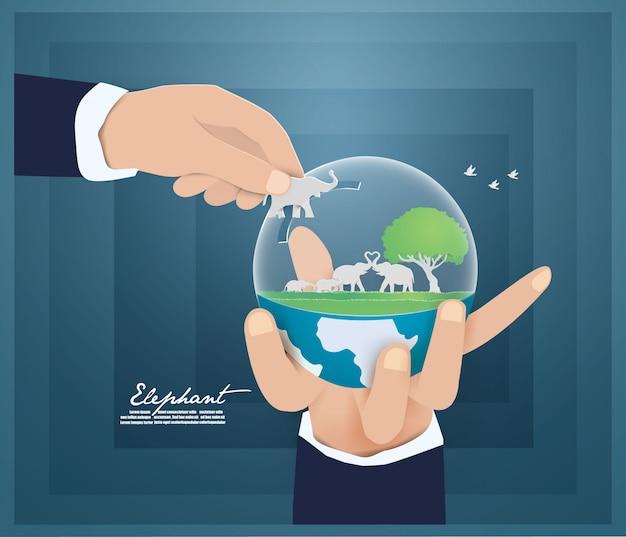 Ambiente mundial ee save nature, animais, conceito de vida selvagem. Vetor Premium