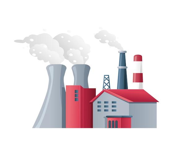 Ambiente poluído da poluição do ar da fábrica Vetor Premium