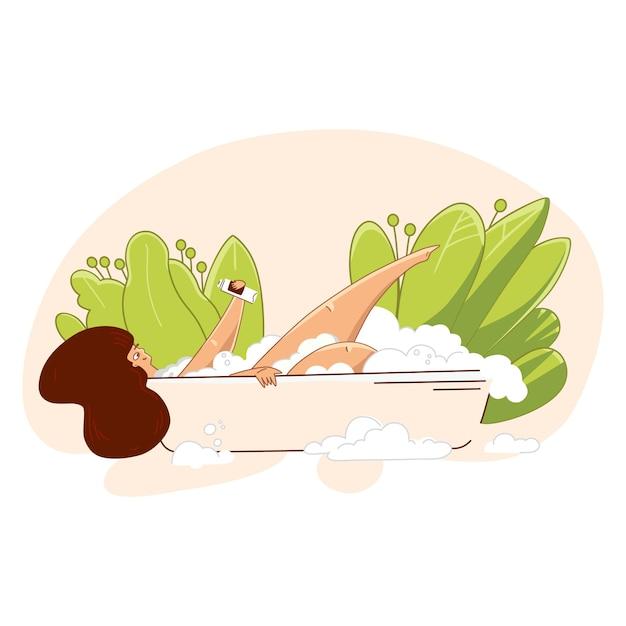 Ame a si mesmo e cuide-se conceito. jovem mulher tomando banho, obtendo ilustração de tempo de cuidados de saúde cuidados. Vetor Premium